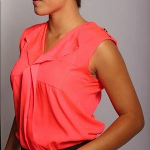 Coral Pink Sleeveless Blouse